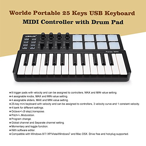 vangoa worlde portable 25 keys usb keyboard midi controller with drum pad your local musician. Black Bedroom Furniture Sets. Home Design Ideas
