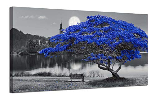 Canvas Wall Art Prints Blue Tree Picture Lake Moon Castle Painting, Modern Landscape Wooden Framed Large Size Teal Artwork Panorama for Home Office Bedroom Living Room Murals Decor 48