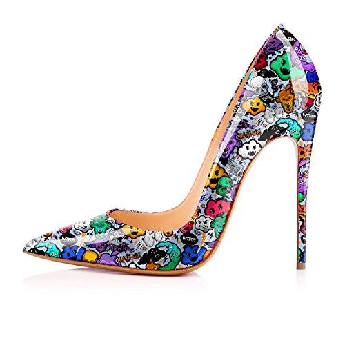 Cow Women's Printing Anime High Shoes YCG Blue on Pattern Slip Heels Pumps HIP1q