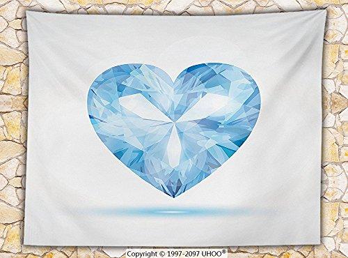 Diamond Decor Fleece Throw Blanket Big Hanging Valentine Heart with Bright Shades Shadow Box Passion Romance Fortune Decor Throw Blue (Shadow Box Pottery Barn)