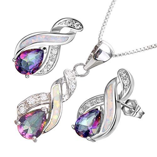 (Hermosa Opal Jewelry Set Women Pendant Necklace Stud Earrings Sapphire Rainbow Mystic Topaz with 18