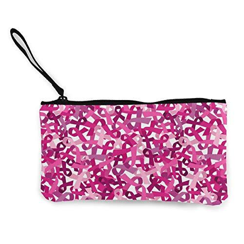 Women's Fashion Coin Purse, Pink Ribbon Pattern Canvas Makeup Bag With Zipper For Women