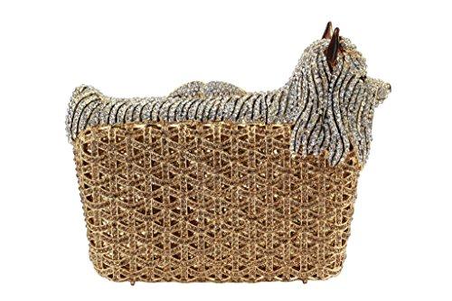 Yilongsheng Perro de las mujeres en forma de embrague de la tarde monederos con la cesta de los diamantes oro