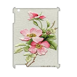 Custom iPad2,3,4 Case, Zyoux DIY 3D iPad2,3,4 Case Cover - Embroidered flowers