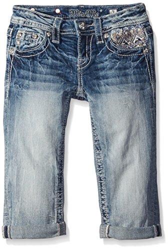 Miss Me Girls' Big Bead Embellished Denim Capri Jeans, Light, 12 (12 Jeans Miss Me)