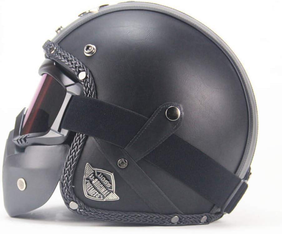 Maske Brille MRDEER Vintage Motorradhelm Retro Handgemachtes PU-Leder Integralhelm Helm Unisex Full-face Scooter-Helm Roller Sturz-Helm mit Visier M,L,XL,XXL