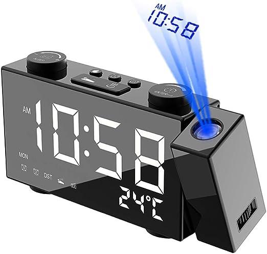 LONG-D Reloj De Escritorio De Proyección Digital, Reloj ...