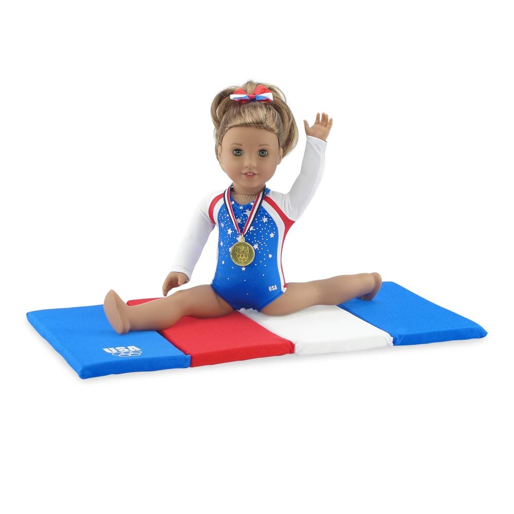 Emily Rose 18 Inch Doll Clothes | Team USA 4 Piece Doll Gymnastics Set, Including Jeweled Leotard, Tumbling Mat, Hair Bow and Realistic Olympic Gold Medal! | Fits 18' American Girl Dolls Emily Rose Doll Clothes