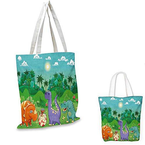 Nursery canvas messenger bag Funny Dinosaurs and Tropical Rainforest Cartoon Jungle Green Landscape Kids Theme canvas beach bag Multicolor. - Bags Green Jungle Messenger