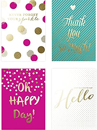 20 Embellished Gold Foil Fun Sparkle Cards on Coated Cardstock Matching Envelopes and Storage Box Graphique Sparkle Assorted Boxed Notecards 4.25 x 6 with 4 Designs