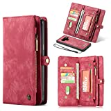 Earcase Samsung Note 9 Wallet Case, 2 in 1 Leather Case Zipper Detachable Magnetic Case 11 Card Slots Money Pocket Clutch Cover Retro Stand Smart Wallet for 6.4 Inch Samsung Note9-Red