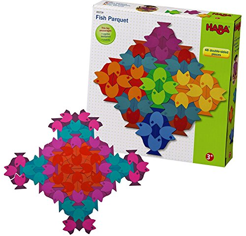 HABA Fish Parquet - 48 Piece Double Sided Rainbow Fish Patterning Puzzle for Ages 3 and Up