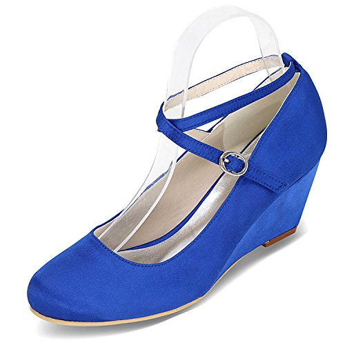 Tacco Blue Donna 6 con Cm Fibbia DéColleté Satin Scarpe Tacco da E Sposa da con Sera Elobaby 5 da in nfZqwH