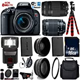 Canon EOS Rebel T7i DSLR Camera 18-55mm is STM Lens & 75-300mm III Lens + Flash + UV FLD CPL Filter Kit + Wide Angle & Telephoto Lens + Camera Case + Tripod + Card Reader – International Version Review