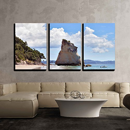 wall26 - 3 Piece Canvas Wall Art - Cathedral Cove Coromandel Peninsula - Modern Home Decor Stretched and Framed Ready to Hang - 16