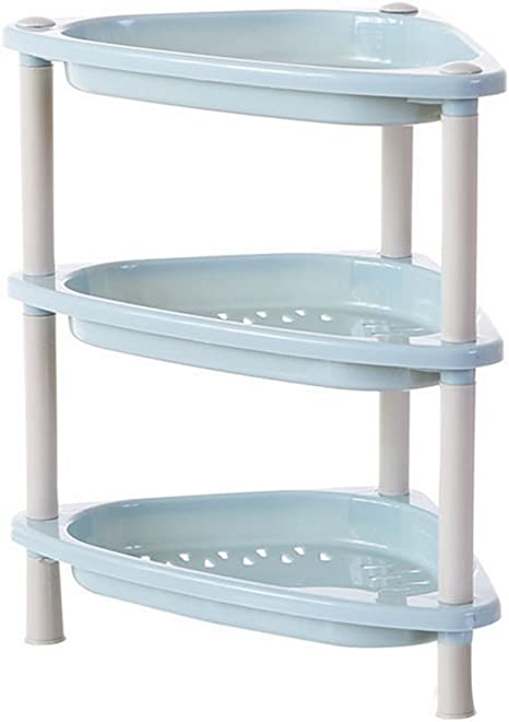 Amazon Com Diffstyle Plastic 3 Liner Shelf Free Stand Corner Bathroom Shower Kitchen Organizer Simple Storage Rack Triangle Rectangle And Square Shape 3 Colors Triangle Blue Home Kitchen
