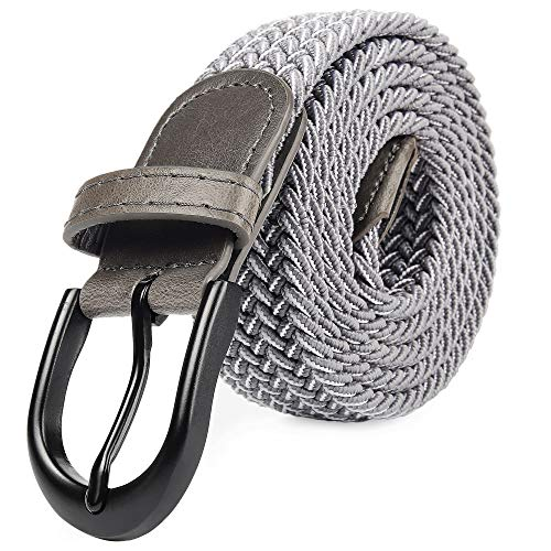 Braided Stretch Elastic Belt Pin Oval Solid Black Buckle Leather Loop End Tip Men/Women/Junior (Silver, XXX-Large 48