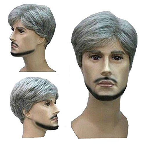 MELADY(Free Cap) Fashion Casual Grey Short Straight Synthetic Businessman Style Men Hair Replacement Wigs