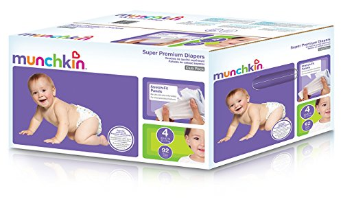 Munchkin Super Premium Diapers, Size 4/Large Ultra (22-37 Pounds), 92 Count
