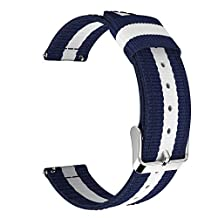 Universal 22mm Quick Release Watch Band, Moko Nylon Band Sports Strap for Amazfit/Samsung Gear S3 Frontier/S3 Classic/Motorola Moto 360 2nd Gen 46mm/Huawei 2 Classic, Blue & White