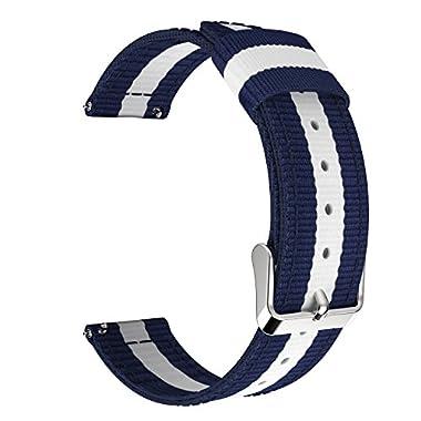 22mm Quick Release Universal Watch Band, MoKo Nylon Band Sports Strap for Amazfit/Samsung Gear S3 Frontier/S3 Classic/Motorola Moto 360 2nd Gen 46mm/Garmin Vivomove/Huawei 2 Classic, Blue & White