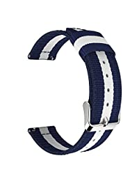 Universal 22mm Quick Release Watch Band, MoKo Nylon Band Sports Strap for Amazfit/Samsung Gear S3 Frontier/S3 Classic/Motorola Moto 360 2nd Gen 46mm/Garmin Vivomove/Huawei 2 Classic, Blue & White