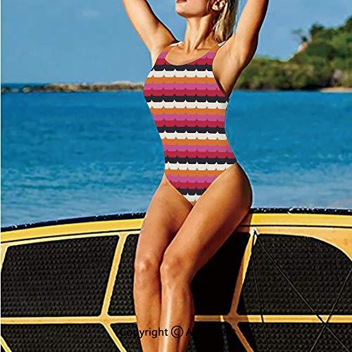 - 80s/90s Sexy Bikini,Palette Stripes with Curves Pattern Ho,One Piece Swimwear