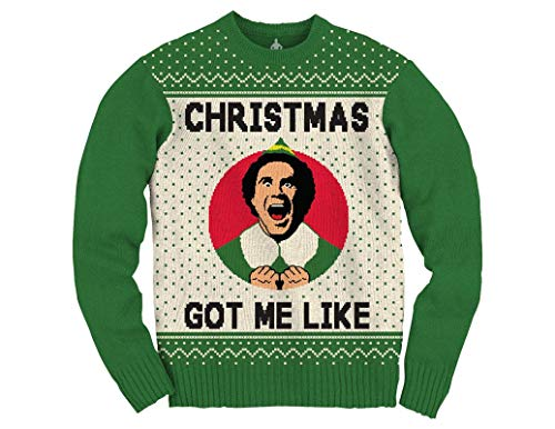 Ripple Junction Elf Adult Unisex Xmas Got Me Like Medium Weight Crew Sweater XL Green