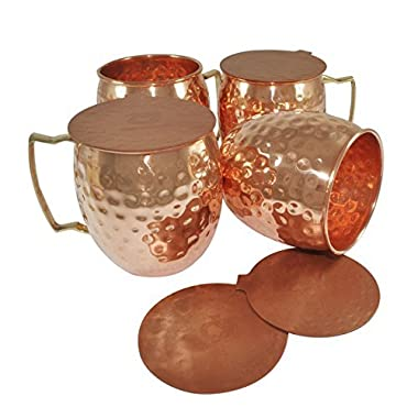 DakshCraft ® Handmade Pure Copper Hammered Moscow Mule Mug, Set of 4 with 4 Metal  Hammered Coasters