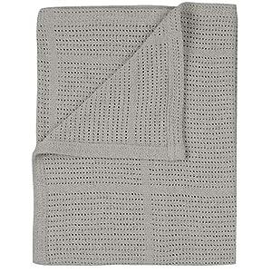 100% Cotton Soft Cellular Baby Blankets for Newborns | Pram/Travel/Cot/Moses Basket Blanket (Grey)