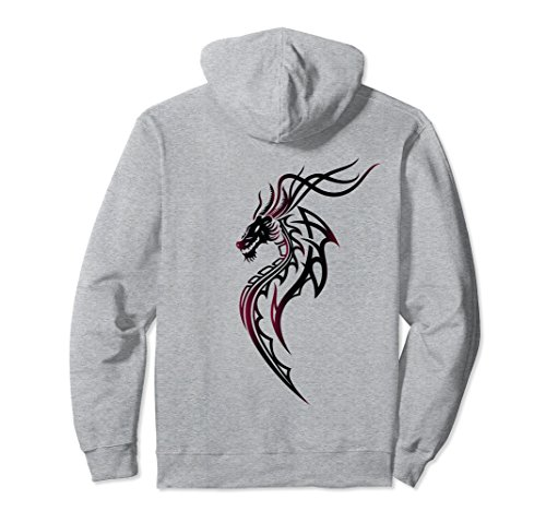 Tribal Wings Dragon (Unisex Dragon with Wings Hoodie. Tribal Tattoo, Fantasy Style. 2XL Heather Grey)