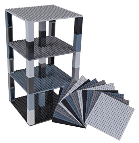 "Free Premium Black and Gray Combo Stackable Base Plates - 12 Pack 6"" x 6"" Baseplate Bundle with 100 New and Improved Stackers - Compatible with All Major Brands"