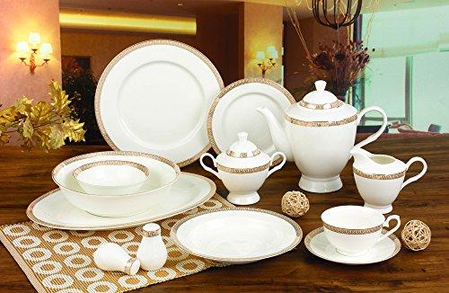 Royalty Porcelain Greek 57-Piece White & Gold Banquet Dinnerware Set, 24K Gold-plated Greek Key Ornament, Bone China Porcelain, Service for 8 ()