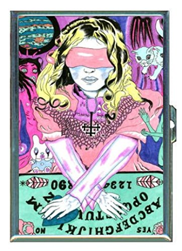 Ouija Board Blindfold Girl Cat Stainless Steel ID or Cigarettes Case (King Size or 100mm)