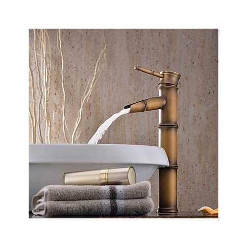 W&P Bathroom sink faucet with bronze finish-bamboo design hot sale
