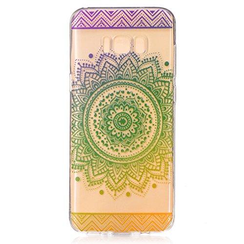 XiaoXiMi Funda Samsung Galaxy S8 PLUS Carcasa de Silicona Transparente con Patrón de Diseño Simple Soft Silicone Case Cover Funda Protectora Carcasa Blanda Claro Caso Flexible Suave Caja Delgado Liger Girasol Verde Bello