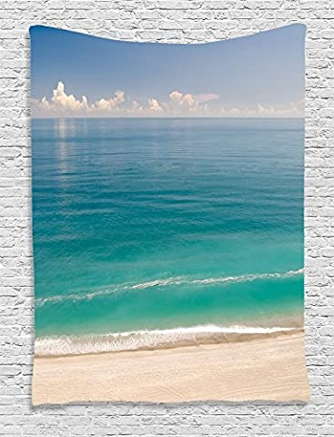 Ambesonne Ocean Decor Collection, Quiet Tranquil Beach with Green Sea under Clear Sky Picture, Bedroom Living Kids Girls Boys Room Dorm Accessories Wall Hanging Tapestry, Aqua Blue Green Ivory