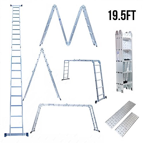 Superworth 19.5ft Multi purpose Aluminum Telescopic Ladder Heavy Duty Folding Combination Ladder Extension (Heavy Duty Platform Ladder)