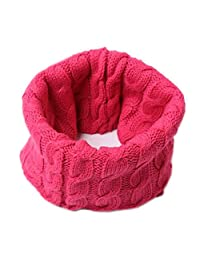 Winter Solid Color Thick Knit Soft Warm Wool Scarf Wrap, Rose Red