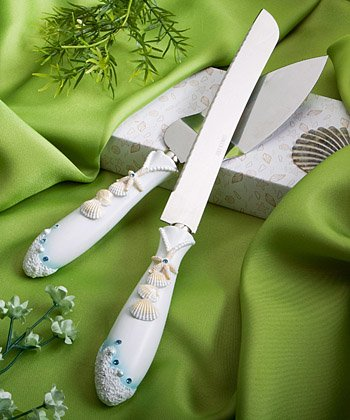 - Beach Theme Wedding Knife & Cake Server Set, 2
