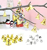 Besde 9Pcs Christmas Tree Hanging Bells Jingle Pendant Party Decoration Ornaments Xmas (gold)