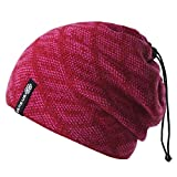 Botack 3 in 1 Mens Ski Neck Warmer, Slouchy Beanie Hat Face Cover Warm Fleece Lined Neck Gaiter for Running Camping Hiking 1 Piece