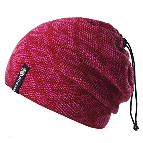 Botack 3 in 1 Slouchy Beanie Hat Neck Warmer Face Mask Warm Fleece Lined Running Camping Hiking Skiing Cap 1 Piece -