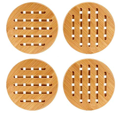 (Weikai 11 Set of 4, Solid Bamboo Wood Trivets with Non-Slip Pads for Hot Dishes and Pot (7