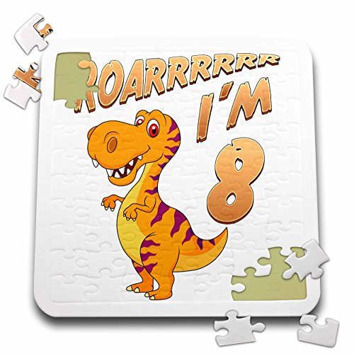 Carsten Reisinger - Illustrations - Birthday Dinosaur Roarrrrrr I am 8 Years Old Congratulations Party - 10x10 Inch Puzzle (pzl_261522_2) by 3dRose