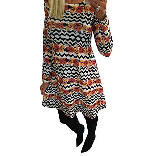 hibote Para mujer del patinador oscilación vestido de manga larga de Impreso Top A10