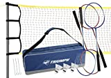 Triumph 4-Player Competition Backyard Badminton Set Includes Net, 4 Steel Rackets, and 3 Shuttlecocks