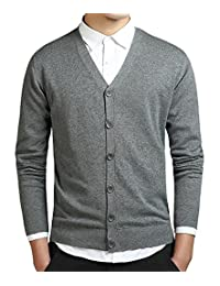 Kaured Stylist Mens Solid Color Open Front Button Down Cardigan Sweater