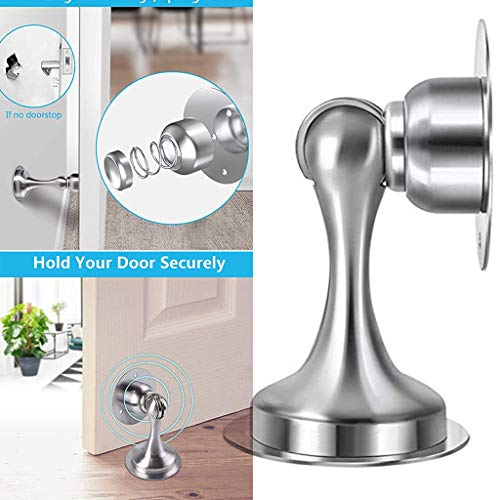 (Emptystar Stainless Steel Magnetic Door Stopper Catch Holder, Floor or Wall Mounted Doorstop Door Suction, Strong Magnet Design No Need to Drill - Easy to Install)