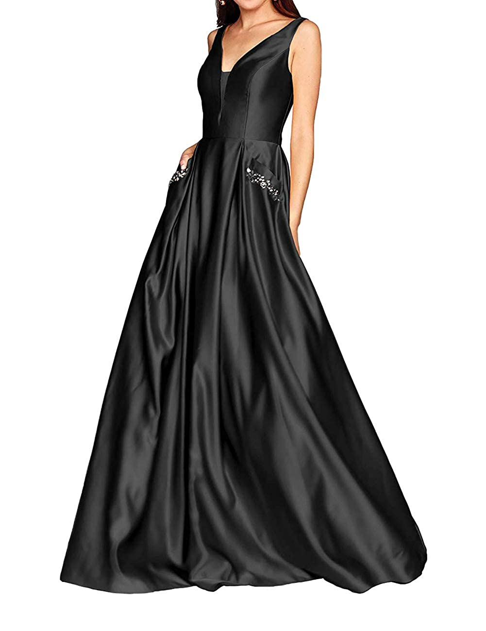 Black JAEDEN Prom Dresses Long Evening Gowns Formal V Neck Prom Dress Sleeveless Evening Dresses Party Gown with Pocket
